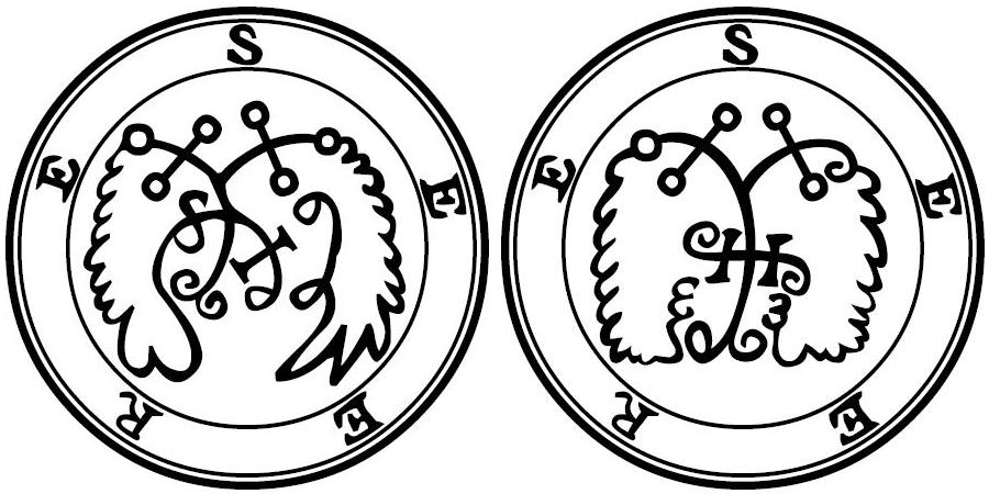 Seere has two sigils in the Goetia. Sigil one is on the left, sigil two is on the right.