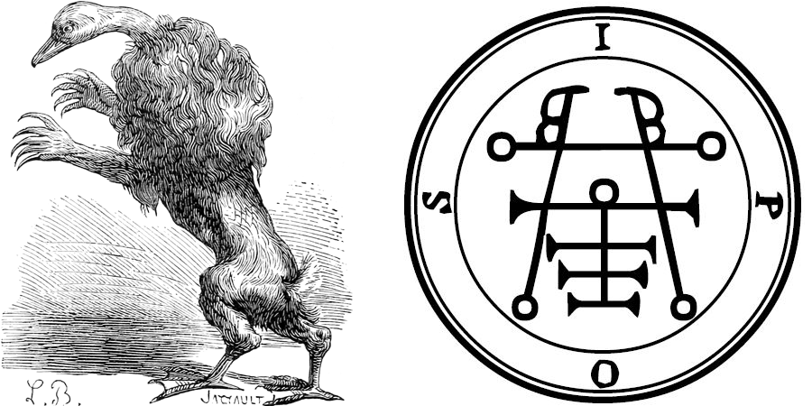 The wood carving on the left is from Plancy's Dictionnaire Infernal and Ipos's Goetia sigil is on the left.