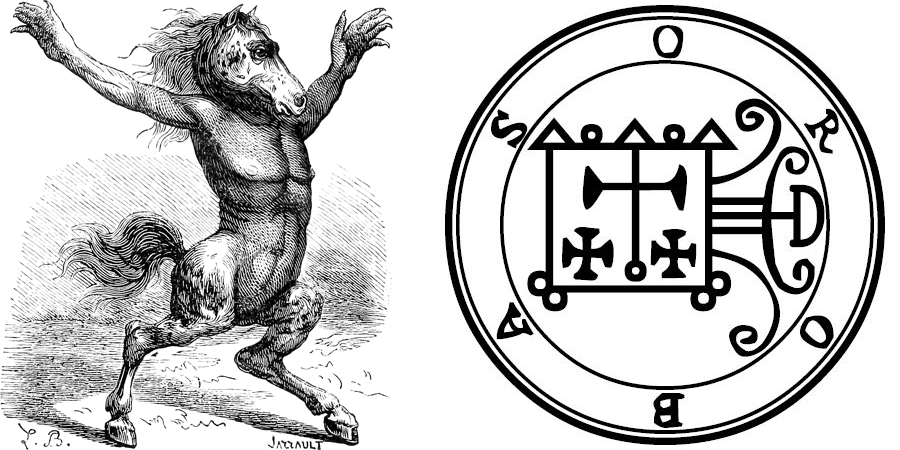 Orobas image from Plancy's Dictionnaire Infernal and Orobas sigil from the Goetia.